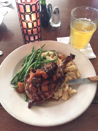 The grilled pork chop ($22)